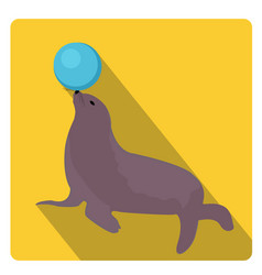 sea lion with a ball circus icon flat style with vector image
