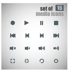 Set of 16 multimedia icons vector