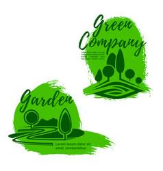 Landscape design studio emblem set with green tree vector