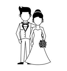 Husband and wife avatars wedding icon image vector