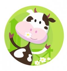 happy cow character farm animal vector image
