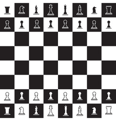 Chessboard with black and white chess pieces eps10 vector