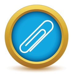 Gold paper clip icon vector
