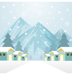 Winter houses with snowing background vector