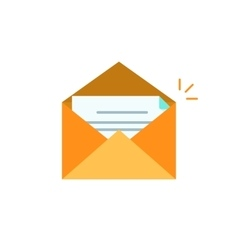 Envelope open with letter icon isolated on vector