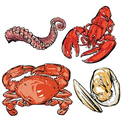 Seafood dinner drawing vector