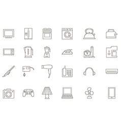 Appliances black icons set vector