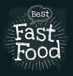 Best fast food lettering with bubble and rays vector