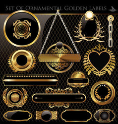 Black and Gold framed labels vector image