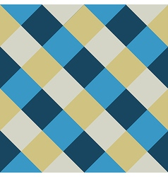 Blue cream chess board diamond background vector