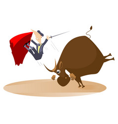 Bullfighter and the rage bull isolated vector