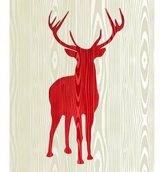 Christmas wooden reindeer silhouette vector
