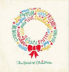 Christmas wreath greeting card vector