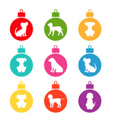 Colorful christmas balls with different dogs vector