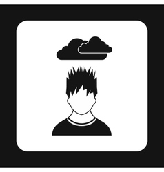 Depressed man icon simple style vector