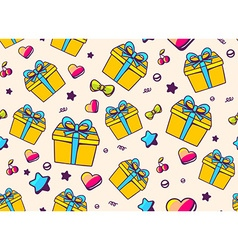 Festive bright pattern with yellow gift box and vector