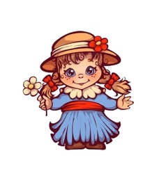 Girl in dress and hat for festa junina party vector