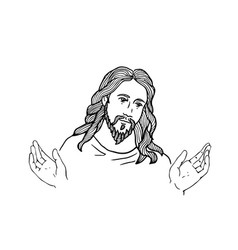 graphical face of jesus face of jesus open hands vector image