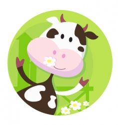 happy cow character farm animal vector image vector image