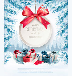 Holiday christmas background with a gift card and vector
