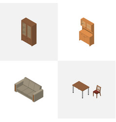 Isometric furnishing set of couch cabinet vector