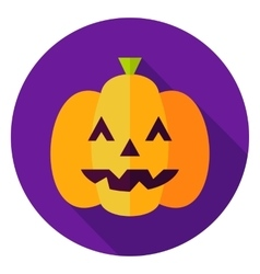 Jack O Lantern Pumpkin Circle Icon vector image