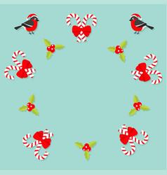 merry christmas bullfinch bird candy cane stick vector image