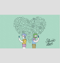 Modern internet love couple concept vector