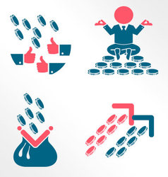 Money and success flat icons vector image vector image