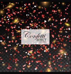 Red glittering heart confetti vector