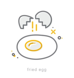 Thin line icons fried egg vector