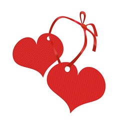Two red hearts connected by a ribbon vector