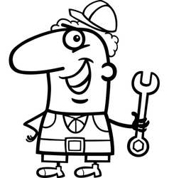 worker cartoon coloring page vector image