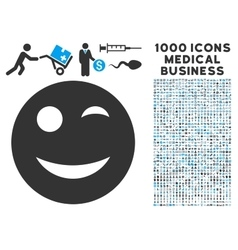 Wink icon with 1000 medical business pictograms vector