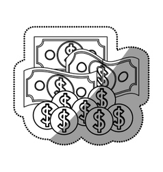 Isolated bills and coins design vector