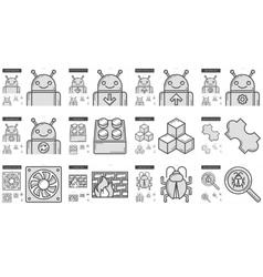 Programming line icon set vector