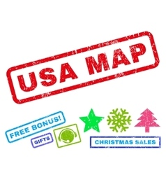 USA Map Rubber Stamp vector image