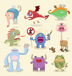 Monsters set vector image