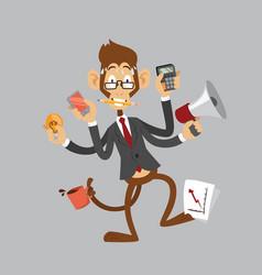Cartoon monkey businessman stress dancing isolated vector
