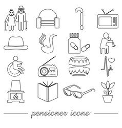 Pensioner senior citizen theme set of outline icon vector