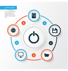 Laptop icons set collection of desktop hdd vector
