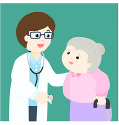 Grandmother cartoon see doctor vector