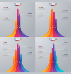 Bar chart infographic template with 5 options vector