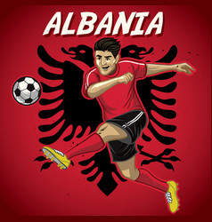 Albania soccer player with flag background vector