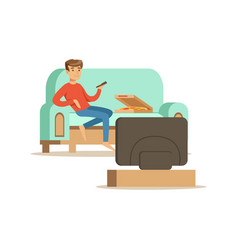 young man character sitting on a sofa and watching vector image