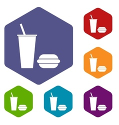 Fast food rhombus icons vector