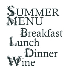 Text summer menu breakfast lunch dinner wine vector