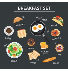 Set of breakfast menu on chalkboard vector