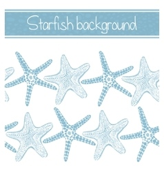 Background with hand-drawn starfishes vector
