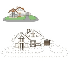 Draw house educational game vector